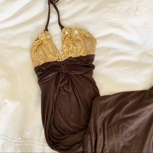 Gorgeous Sky Gold-Top Halter Dress